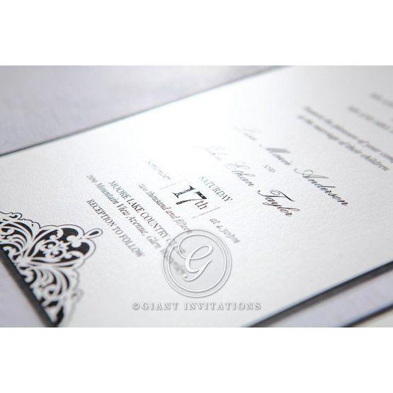 White Jeweled Romance Black Laser Cut - Wedding invitation - 3