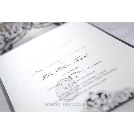 White Jeweled Romance Black Laser Cut - Wedding invitation - 4