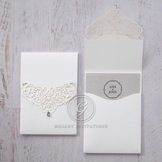 Silver/Gray Jeweled White Lasercut Pocket - Wedding invitation - 9