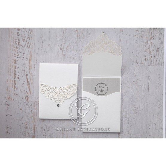 Silver/Gray Jeweled White Lasercut Pocket - Wedding invitation - 28
