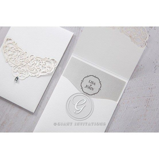 Silver/Gray Jeweled White Lasercut Pocket - Wedding invitation - 29