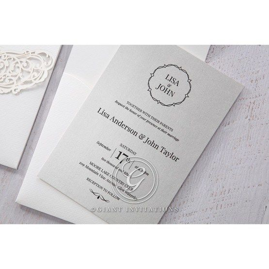 Silver/Gray Jeweled White Lasercut Pocket - Wedding invitation - 32