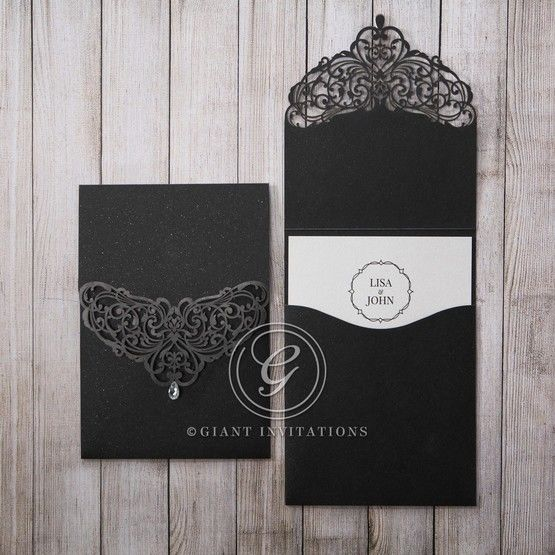 White Jeweled Romance Black Lasercut Pocket - Wedding invitation - 14