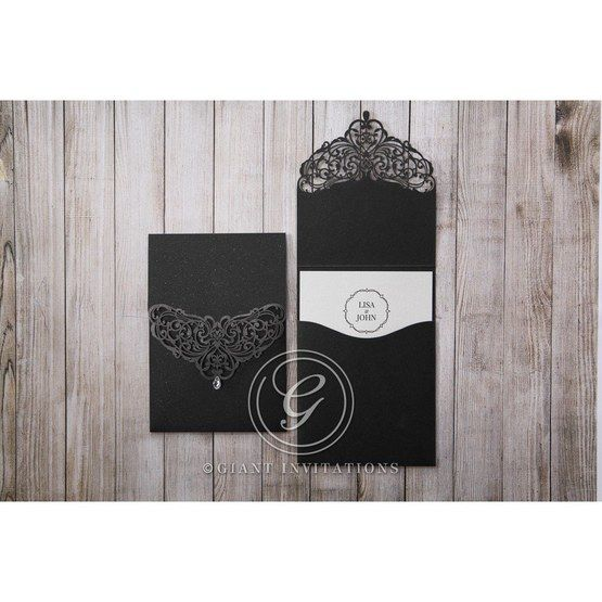 White Jeweled Romance Black Lasercut Pocket - Wedding invitation - 74
