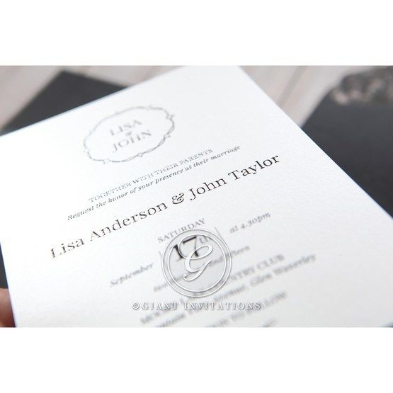 White Jeweled Romance Black Lasercut Pocket - Wedding invitation - 78