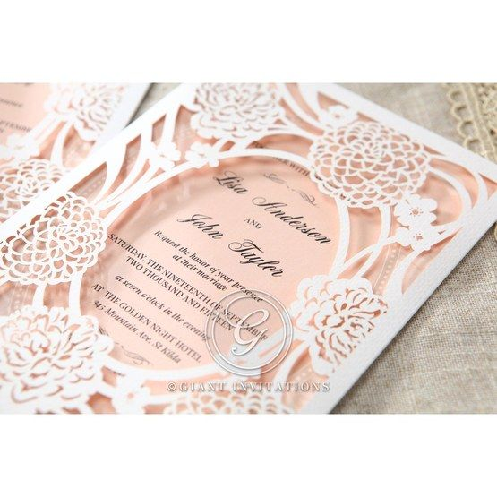 Pink Rustic Garden Laser Cut Pocket - Wedding invitation - 36
