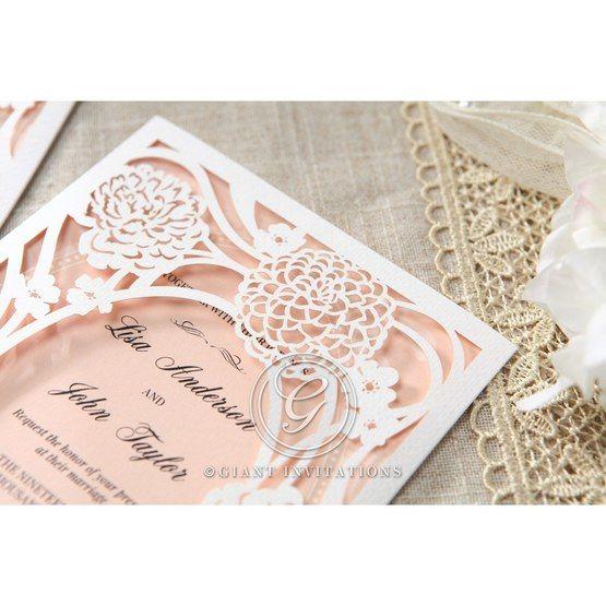 Pink Rustic Garden Laser Cut Pocket - Wedding invitation - 37