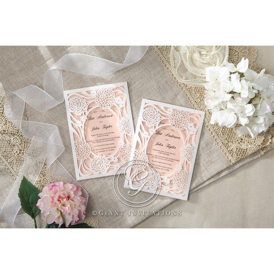 Pink Rustic Garden Laser Cut Pocket - Wedding invitation - 38