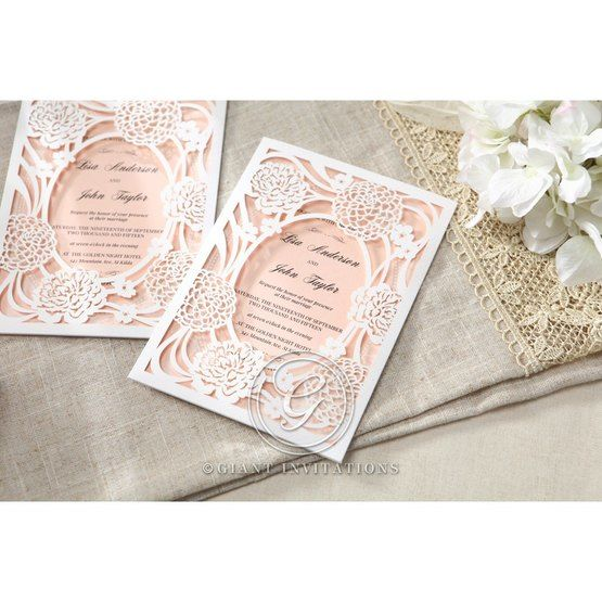 Pink Rustic Garden Laser Cut Pocket - Wedding invitation - 39