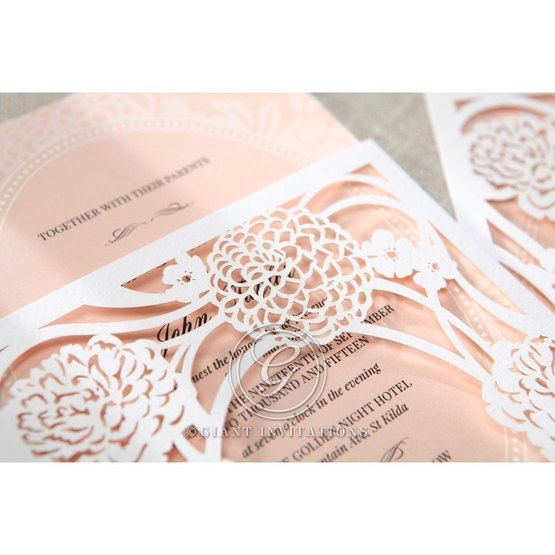 Pink Rustic Garden Laser Cut Pocket - Wedding invitation - 42