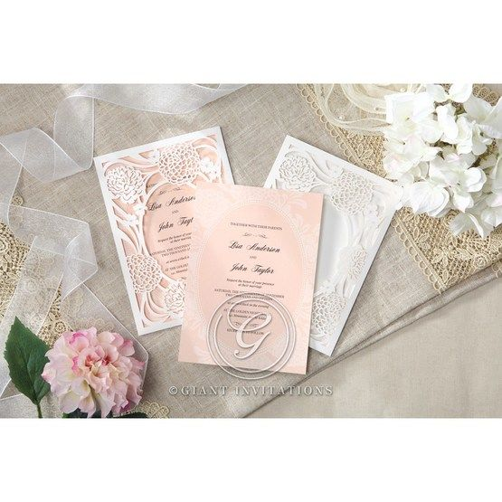 Pink Rustic Garden Laser Cut Pocket - Wedding invitation - 43