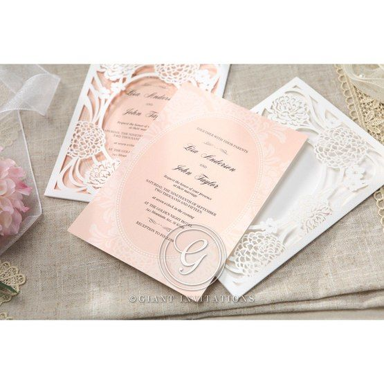 Pink Rustic Garden Laser Cut Pocket - Wedding invitation - 44
