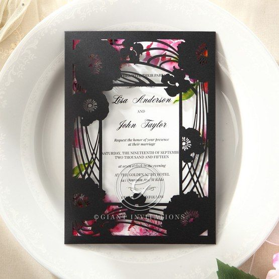 Purple Laser Cut Frame Pocket - Wedding invitation - 25