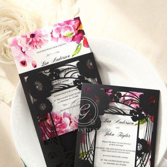 Purple Laser Cut Frame Pocket - Wedding invitation - 75