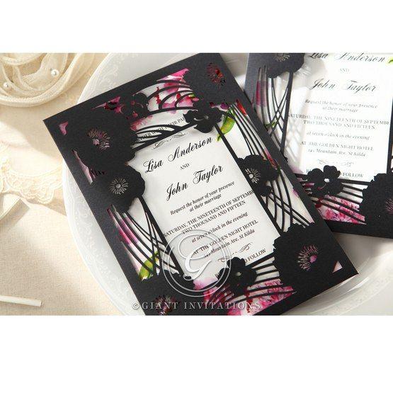 Purple Laser Cut Frame Pocket - Wedding invitation - 78