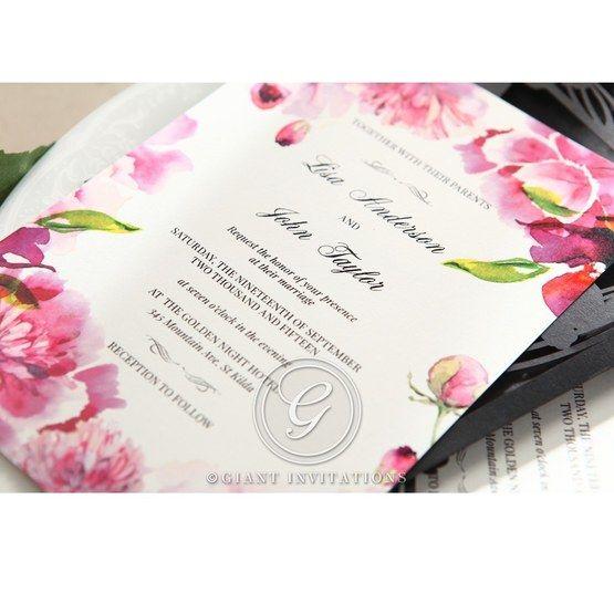 Purple Laser Cut Frame Pocket - Wedding invitation - 79