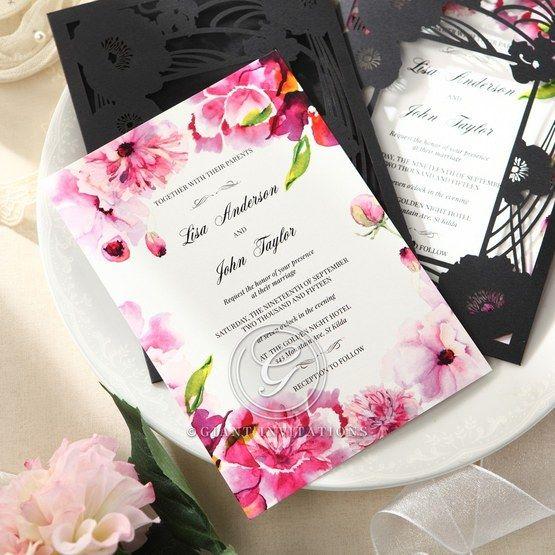 Purple Laser Cut Frame Pocket - Wedding invitation - 81