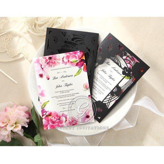 Purple Laser Cut Frame Pocket - Wedding invitation - 83