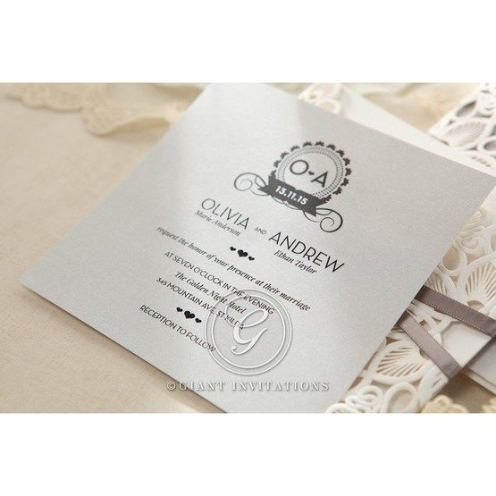 Silver/Gray Elagant Laser Cut Wrap - Wedding invitation - 39