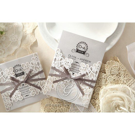 Silver/Gray Elagant Laser Cut Wrap - Wedding invitation - 40