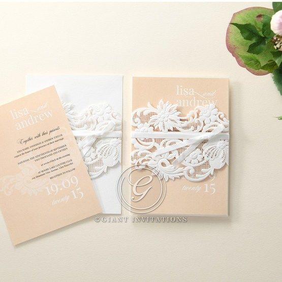Beige White Laser Cut Wrap with Ribbon - Wedding invitation - 78