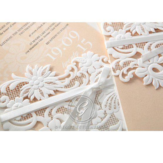 Beige White Laser Cut Wrap with Ribbon - Wedding invitation - 79