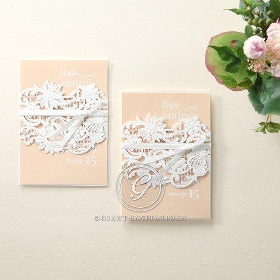 Beige White Laser Cut Wrap with Ribbon - Wedding invitation - 80