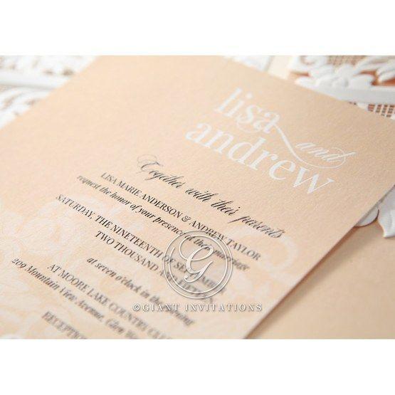 Beige White Laser Cut Wrap with Ribbon - Wedding invitation - 81