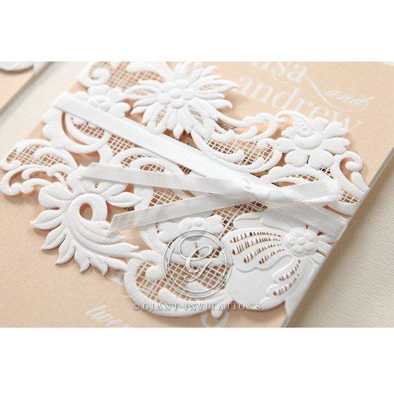 Beige White Laser Cut Wrap with Ribbon - Wedding invitation - 82