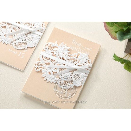 Beige White Laser Cut Wrap with Ribbon - Wedding invitation - 83