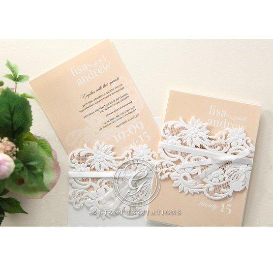 Beige White Laser Cut Wrap with Ribbon - Wedding invitation - 84