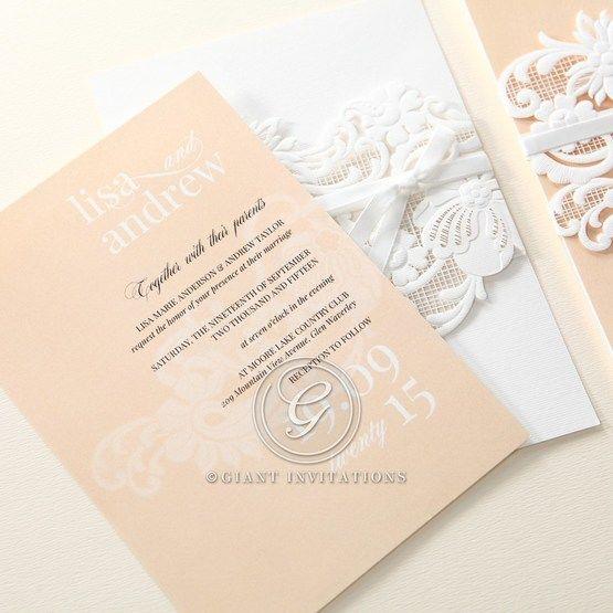Beige White Laser Cut Wrap with Ribbon - Wedding invitation - 85