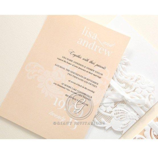 Beige White Laser Cut Wrap with Ribbon - Wedding invitation - 86