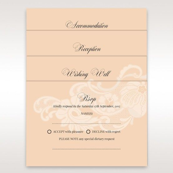 Accompanying cards of the white floral laser cut pocket wedding invitation with ribbon