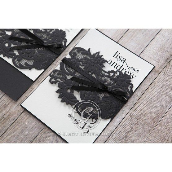White Black Laser Cut Wrap with Ribbon - Wedding invitation - 10