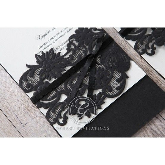 White Black Laser Cut Wrap with Ribbon - Wedding invitation - 11