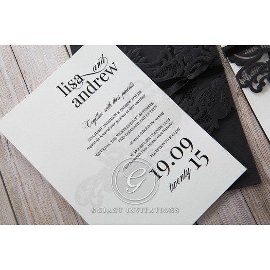 White Black Laser Cut Wrap with Ribbon - Wedding invitation - 13
