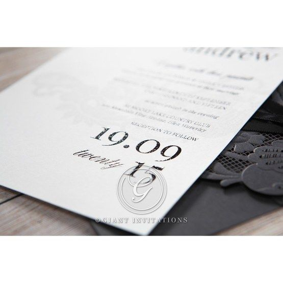 White Black Laser Cut Wrap with Ribbon - Wedding invitation - 14