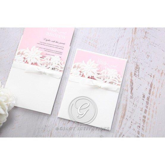 Pink Laser Cut Floral Half Pocket  - Wedding invitation - 40