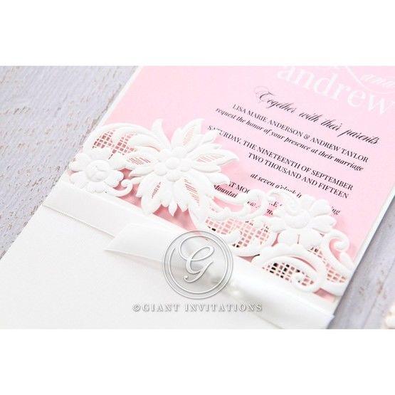Pink Laser Cut Floral Half Pocket  - Wedding invitation - 41