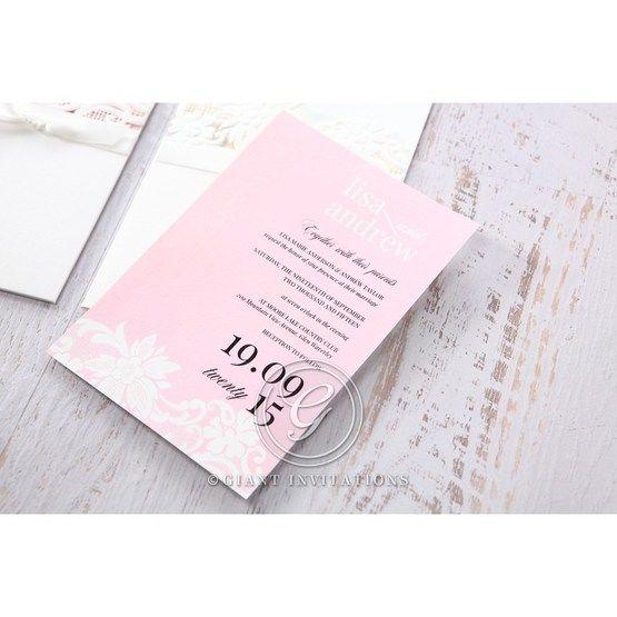 Pink Laser Cut Floral Half Pocket  - Wedding invitation - 44