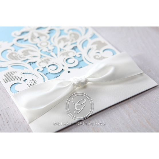 Blue Classy Laser Cut with White Bow - Wedding invitation - 56