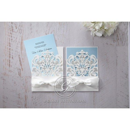 Blue Classy Laser Cut with White Bow - Wedding invitation - 58