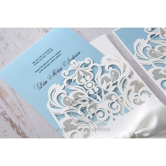 Blue Classy Laser Cut with White Bow - Wedding invitation - 59