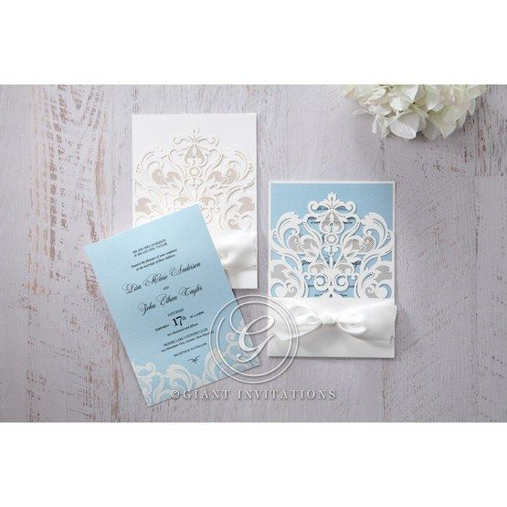 Blue Classy Laser Cut with White Bow - Wedding invitation - 60