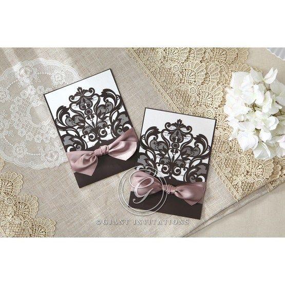White Elegant Laser Cut Half Pocket with a Bow - Wedding invitation - 24