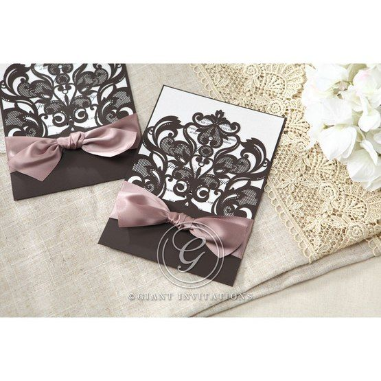 White Elegant Laser Cut Half Pocket with a Bow - Wedding invitation - 25