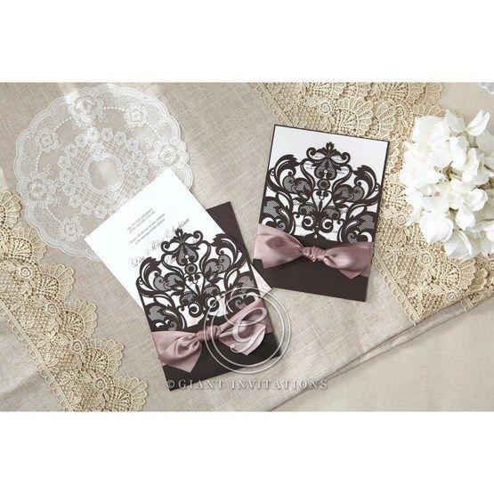 White Elegant Laser Cut Half Pocket with a Bow - Wedding invitation - 28