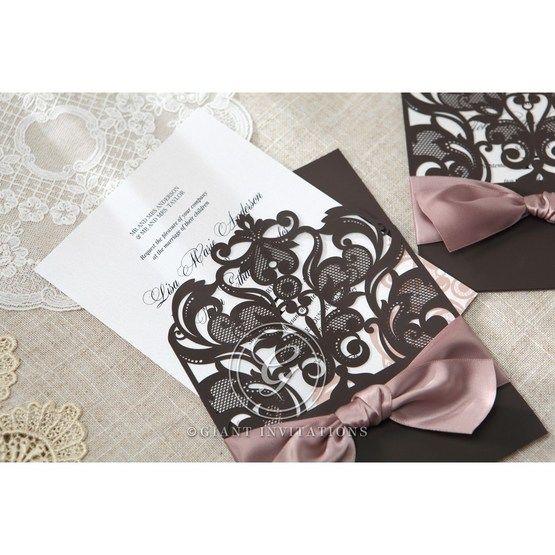 White Elegant Laser Cut Half Pocket with a Bow - Wedding invitation - 29