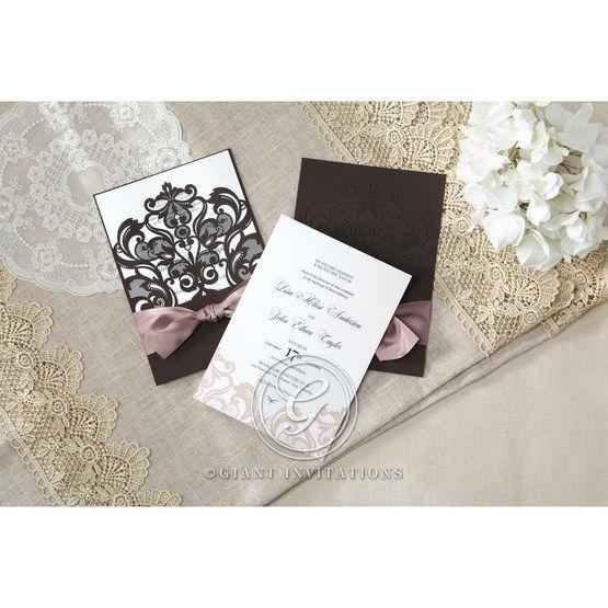 White Elegant Laser Cut Half Pocket with a Bow - Wedding invitation - 30